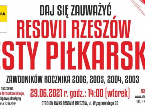 Testy piłkarskie na Resovii dla roczników od 2003 do 2006
